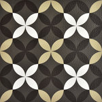 "FloorPops - Clover Peel and Stick Floor Tiles, 24""x60"" - A retro-inspired pattern of overlapping circles creates a floral-like geometric. Over a charcoal base, the white, tan, and black print will add a pop of texture and visual interest to floors. Clover Peel & Stick Floor Tiles contains 10 pieces on 10 sheets that measure 12 x 12 inches. Peel and stick to apply"