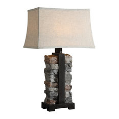 Rustic Indoor Outdoor Stacked Stone Table Lamp Concrete Iron Lodge Organic Shape