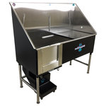 """Groomer's Best - Elite Dog Wash, Black, 58"""", Right Drain - Groomers Best Elite Bathing Tub is top of the line.  Featuring a fully welded design and double sealed.  Our textured coating protects your tub and guarantees no leaking or rusting, and can also be ordered in a color to match your decor.  Includes Lift & Slide steps that allow the animals ease of access and smoothly slide underneath the tub for your convenience.  Removable raised tray is great for small dogs! No assembly required, wash tub ships ready to install!  Easy to use and maintain!"""