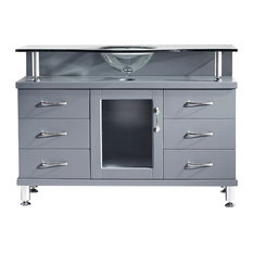"Vincente 48"" Vanity, Gray, Tempered Glass"