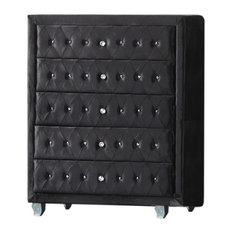Emma Black Crushed Velvet With Crystal Studs 5 Drawer Chest