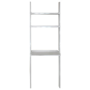 Oates Ladder 3-Tier Wall Shelf With Desk, Gloss White