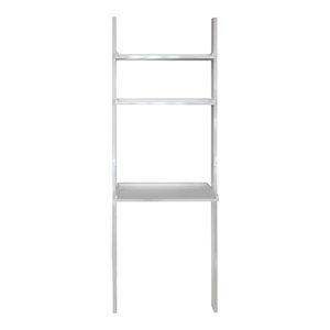 Oates Ladder 3-Tier Wall Shelf With Desk, Gloss White