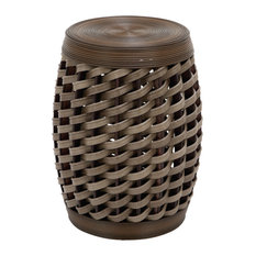 Brown Rattan and Chinese Fir Eclectic Accent Table, Set of 2, 19x14x14
