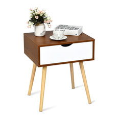 Costway Nightstand With Solid Wooden Legs