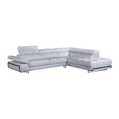 Divani Casa Myst Mini Modern White Eco-Leather Sectional Sofa