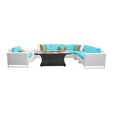 Key Largo 8-Piece Outdoor Wicker Patio Furniture Set, Aruba