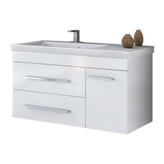 "DP Wall Bath Vanity Cabinet Set 39.4"" Single Sink, White Gloss Lacquer Finish"