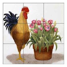 "Ceramic Tile Mural Backsplash ""Tulip Time"" by Marcia Matcham, 18""x18"""