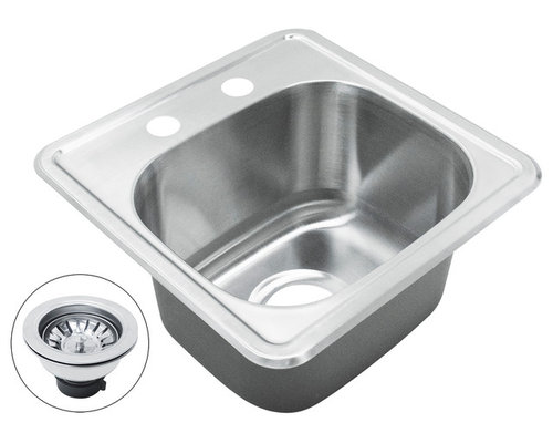 "AKDY - AKDY 8"" Depth AG-ZT1515A182 Stainless Steel Single Bowl Top Mount Sink Kit, With - Kitchen Sinks"