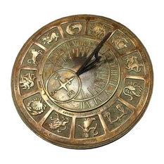 Brass Zodiac Sundial, Solid Brass With Patina Highlights