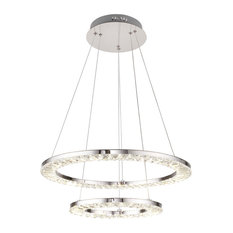 2-Tier Double Ring Clear Crystal LED Light Fixture, Chrome Stainless Steel Frame