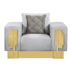 Cosmos Furniture Megan Modern Style Light Gray Chair With Gold Finish