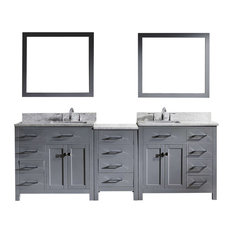 """Caroline Parkway 93"""" Vanity With Mirrors, White Marble, Without Faucet, Square"""