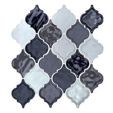 """12""""x12"""" Glazed Ceramic Arabesque Mosaic Tile, Gray Blend"""