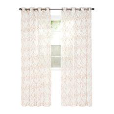 """Lavish Home Valencia Embroidered Curtain, 84"""", Taupe"""