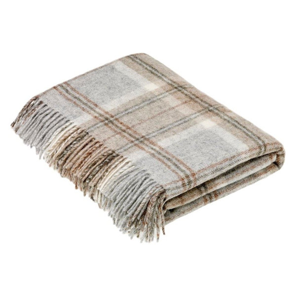 Naturally Bronte Shetland Quality Pure New Wool Gray Aysgarth Throw Blanket