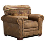 American Furniture Classics - Wild Horses, Chair - Beautiful tapestry coupled with leather-look microfiber fabric makes this chair come alive with the colors of nature. Solid wood frames create a product that will last for years, and solid wood legs and nailhead accents bring a rustic look to this chair. Soft but supportive cushions are filled with high density foam and a layer of fiber wrap. This is a perfect chair for your den or living room.