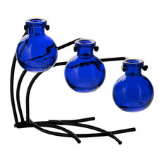 Couronne Co. Casablanca Three Recycled Glass Vases and Metal Stand, Cobalt Blue