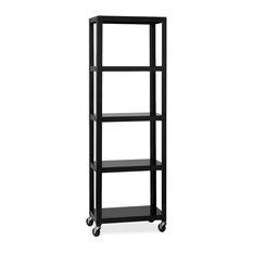 Lorell RTA Mobile Bookcase 72-inchx24-inchx14-inch Black