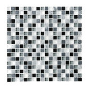 "Bliss Midnight Stone and Glass Square Mosaic Tile, 12""x12"""