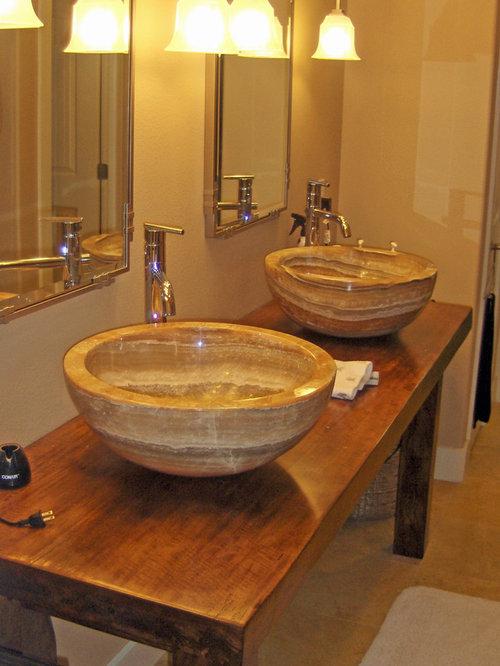 Extra Large Onyx Vessel Sinks On Solid Teak Slab Vanity   Bathroom Sinks