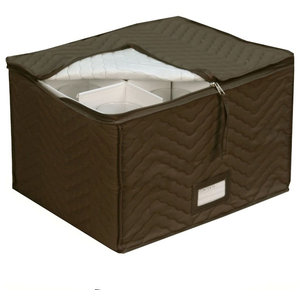 Brown Quilted Stemware Storage Chest