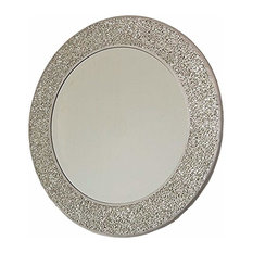 Contemporary Round Wall Mirror With Mosaic Silver Frame, Perfect for any Room