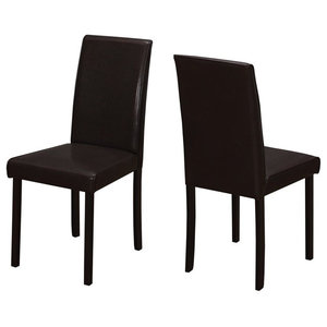 Monarch Leather Dining Side Chairs, Dark Brown, Set of 2