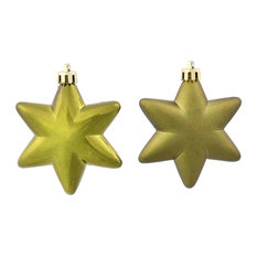 Matte and Shiny Star Shatterproof Christmas Ornaments, Set of 36, Olive Green