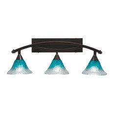 Toltec Company 173-BC-458 Three Light Black Copper Teal Crystal Glass Vanity