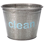"""A Southern Bucket - Clean Galvanized Storage Bucket, Small - Organize your cleaning supplies with this cute metal bucket, featuring hand painted typography """"clean"""" in light turquoise. Each Clean galvanized bucket is 100% watertight and is a perfect home accent for modern farmhouse decor."""