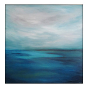 Large Seascape Abstract Painting on Canvas Modern Acrylic Skyline- 40x40- Blues,