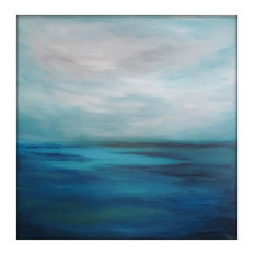 Large Seascape Abstract Painting on Canvas Modern Acrylic Skyline- 40x40- Blues