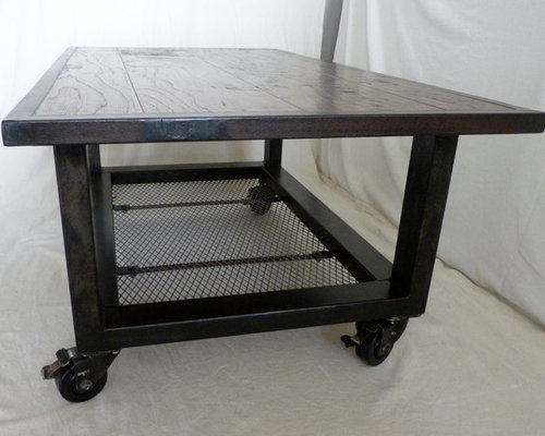 rolling industrial coffee table from salvaged steel. Black Bedroom Furniture Sets. Home Design Ideas