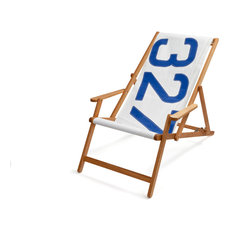 Recycled Sailcloth Oak Deck Chair, White and Blue