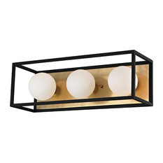 """Aira 15""""W LED Bath Light - Aged Brass Finish - Black Accents - Opal Etched Glass"""