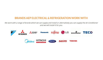 BRANDS AEP ELECTRICAL & REFRIGERATION WORK WITH