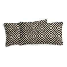Ikat Diamond Outdoor Lumbar Pillows, Set of 2, Black