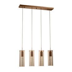 Sprite 18-Watt LED Crystal and Glass Tube Pendant, Matte Gold