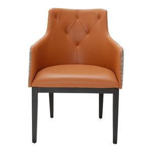 AICO 21 Cosmopolitan Tufted Arm Chair, Orange, Set of 2