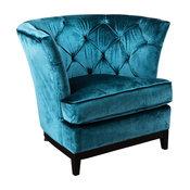 Anabella Fabric Tufted Sofa Chair, Teal Blue