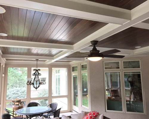 Coffered Ceiling Stone Fireplace