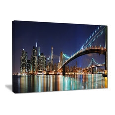 """Brooklyn Bridge Panorama"" Cityscape Photo Canvas Print, 20""x12"""