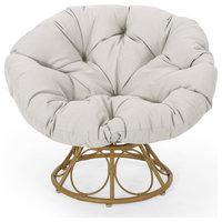 Syosset Outdoor Papasan Swivel Chair, Water Resistant Cushion, Light Brown/Beige
