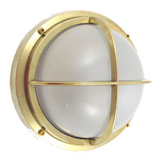 Marine Grade Nautical Bulkhead Sconce (Wall & Ceiling) - 4+ Finishes, Unlacquere
