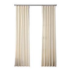 "Faux Raw Silk Curtain Single Panel, Vireo Ivory, 50""x84"""