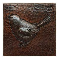 "Baby Bird Design Hammered Copper Tile, 4""x 4"""