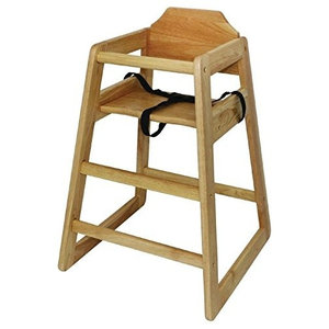Traditional Highchair in Natural Finished Wood with Adjustable Waist Strap