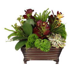 Life Like Green and Deep Red Silk Succulent Plant in a Decorative Metal Planter